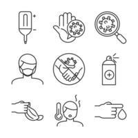 medicinsk vård och covid-19 line-art ikonuppsättning