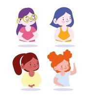 små flickor karaktär uppsättning vektor