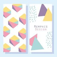 Memphis Design-Stil Muster und abstrakte Formen Satz von Karten