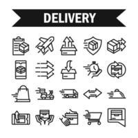 leverans och logistik ikoner set