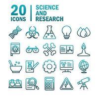 vetenskap och forskning lutning ikoner set vektor