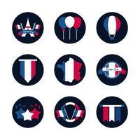 uppsättning franska ikoner vektor