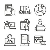 distansutbildning och online-kurser Ikonuppsättning vektor