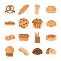 bageri platt stil Ikonuppsättning vektor