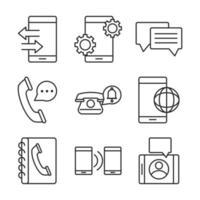 elektroniska enheter line-art ikoner set vektor