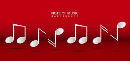 Musik-Entwurfsschablone auf rotem Hintergrund beachten vektor