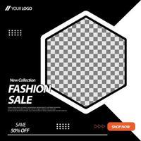 svart, vit hexagon social media banner mall