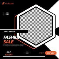 svart, vit, orange hexagon social media banner mall