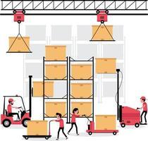 logistisches Geschäftsmerkmal, in dem ein Volk in einer Fabrik oder einem Lager arbeitet vektor
