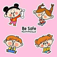 barn vara säker vistelse hemma corona covid-19 kampanj klistermärken vektor