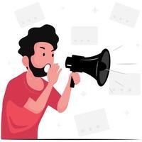 Nachrichten werden auf einem Megaphon angekündigt vektor