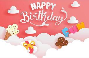 Alles Gute zum Geburtstagskarte im Papierschnittstil mit Kuchen und Geschenkbox vektor