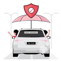 Mann und Frau winken aus einem versicherten Auto