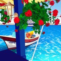 fshing Boot in einem sonnigen mediterranen Hafen angedockt vektor
