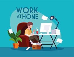 manlig frilansare som arbetar på distans från sitt hem vektor