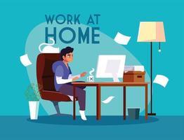 ung manlig frilansare som arbetar på distans från sitt hem vektor