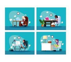 Satz von vier Frauen, die zu Hause arbeiten