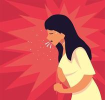 ung kvinna smittad med coronavirus