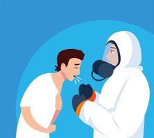 person i skyddsdräkt med infekterad man