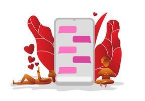 ett par förälskade och prata i telefon vektor