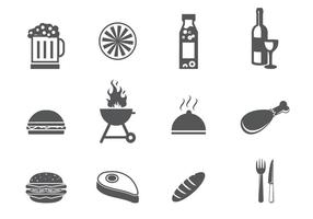 BBQ och Tailgating Icon Set
