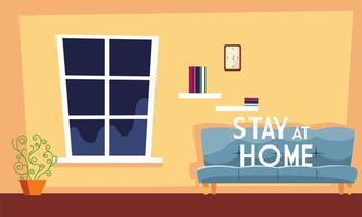 bleib zu hause text und ein süßes wohnzimmer vektor