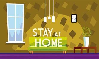 bleib zu hause text und wohnzimmer ohne menschen vektor