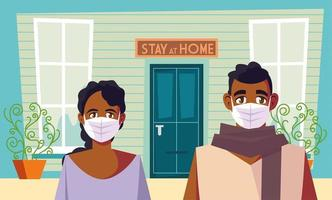 Bleib zu Hause Bewusstsein und ein Paar mit Masken