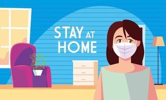 Bleib zu Hause Bewusstsein und eine Frau im Wohnzimmer