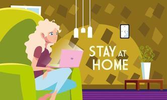 Bleiben Sie zu Hause Bewusstsein und eine Frau im Home Office