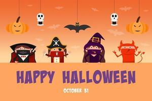 Kinder in Halloween-Kostümen mit Dekorationen vektor