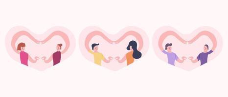 kärlek till olika kön par koncept vektor