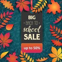 tillbaka till skolan försäljning tagg med blad och doodles vektor
