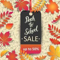 tillbaka till skolan försäljning tagg i blad ram över doodles vektor