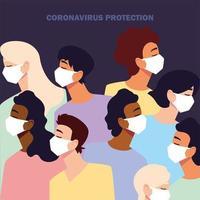 ungdomar med medicinsk ansiktsmask