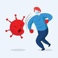 maskierte und behandschuhte Person, die gegen Coronavirus kämpft vektor