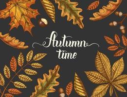 Herbstzeit Kalligraphie Schriftzug mit Vintage-Blättern vektor