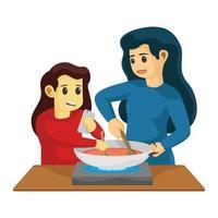mamma och dotter som lagar mat i köket tillsammans