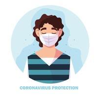 Mann mit Operationsmaske, Schutz gegen Coronavirus vektor