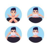 Satz Männer mit medizinischen Gesichtsmasken vektor