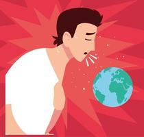 ung man smittad med coronavirus