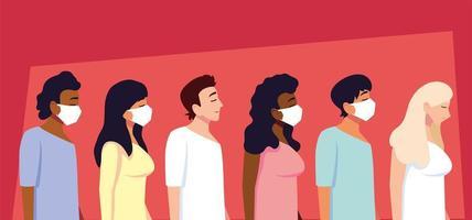 grupp människor som använder medicinsk ansiktsmask