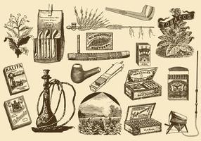 Weinlese-Tabak-Einzelteile vektor