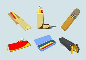 Olika Pencil Cases Vector