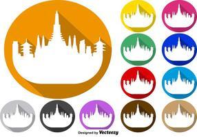 Vektor uppsättning av färgglada knappar i Bangkok Skyline Icon