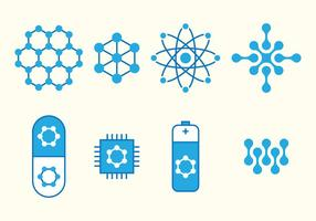 Nanotechnologie Set Icons vektor