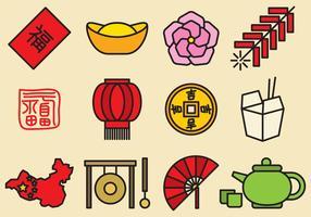 Söt kinesiska ikoner vektor