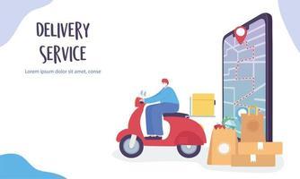 online-leveranspaket som går till deras GPS-destinationer vektor