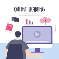 junger Mann, der einen Online-Kurs am Computer nimmt
