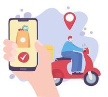 Online-Lieferservice mit Mann auf Roller und Smartphone